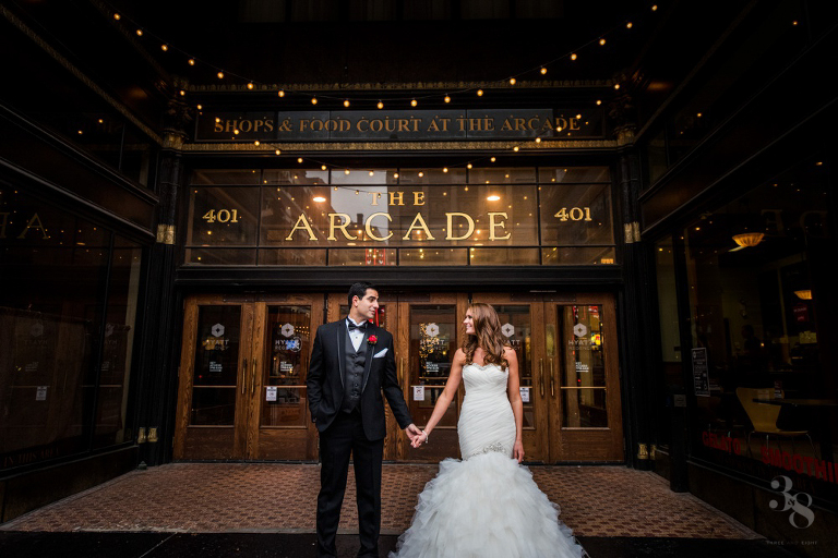 downtown cleveland christmas wedding at the hyatt arcade